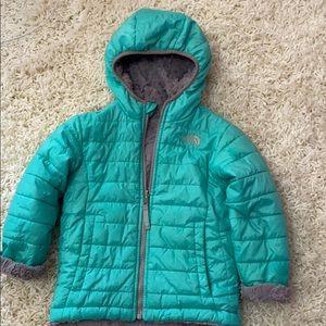 Mint Reversible North Face jacket 4t